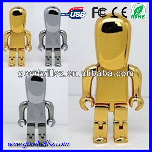 Factory custom metal robot usb flash drive,Shining Metal Robot Usb disk,golden robot usb drives