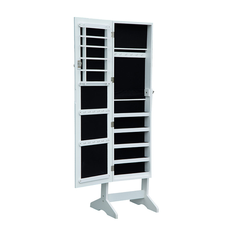 Cabinet Mirrored wall hanging jewelry armoire with mirror in white