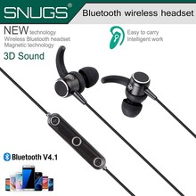 Small Bluetooth Headphones Wireless Earbuds CSR 4.1 Magnetic Stereo Earphone with Mic, Secure Fit for Sports