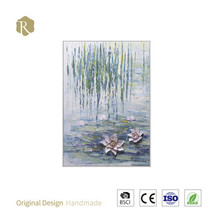 Handmade white lotus flower colorful abstract oil painting