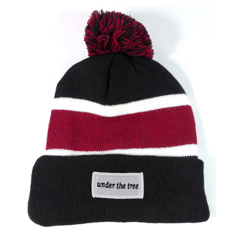 top ball OEM jacquard logo custom woven label  patch 100% Acrylic High quality knit beanie hat