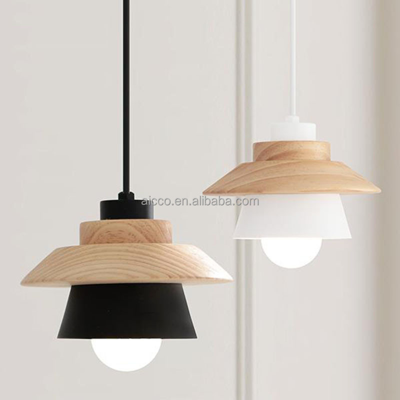 Modern Wood Pendant Light Decorative Hanging Wood Pendant