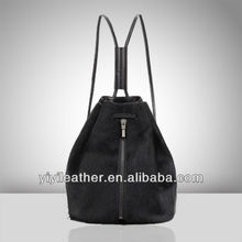 119-Latest design black leather backpack for ladies'
