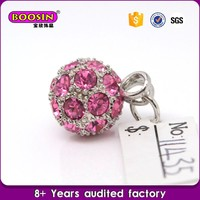 2016 best selling jewelry rhinestone soccer pendant,sport crystal ball charms