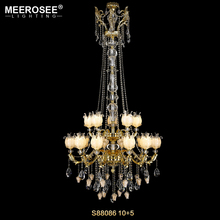 MEEROSEE Modern Long Crystal Chandelier Lamp Best Selling Hotel Project Pendant Light Chandeliers for Stair MD85419-L15