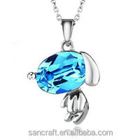 Hot accessories newest dog crystal necklace western jewelry glass for young