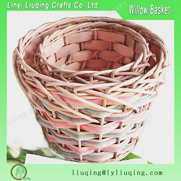 Small round pink decorative wicker baskets Decorative gift baskets Flower baskets for girl