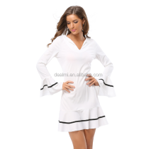 Fashion v-neck long sleeve short skirt summer lady favorite white dress