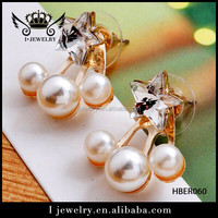 Wholesale price good quality star shape rhinestone with pearl earring