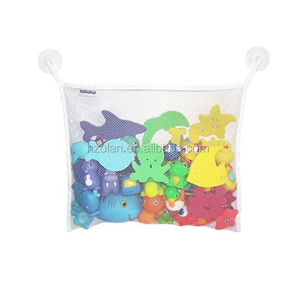 Bath Storage Mesh Bag One Pocket Hanging Bathroom Toy Organizer with Suction Hooks Multi-purpose Toy Storage Bag