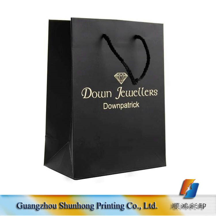 Guangzhou Wholesale Custom Hot Stamping Foil Promotional OEM Company Logo Cheap Luxury Paper Shopping Bag