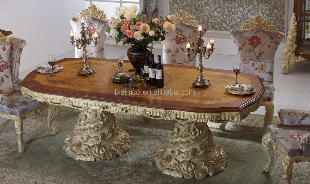 Baroque antique style italian dining table 100 solid wood - Set de table baroque ...