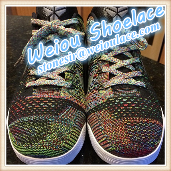 New design 100% Polyester multicolor shoelace bright colors multi color rope laces for Sales Support any mini order