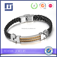 Hip hop Coolman jewelry braided wristband with silver buckle