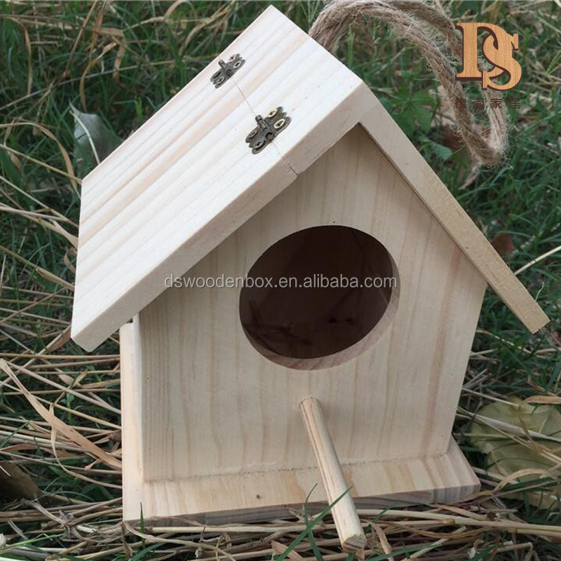 Home Garden Wooden Bird House Birdhouse Hanging Nest Nesting Box Decoration Kit