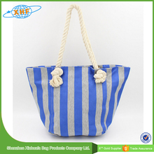Striped Cotton Canvas Beach Bag With Rope Handles