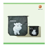 animal printing nonwoven drawstring backpack bags/drawstring tote bag/Non-woven tote bag with your one color print logo