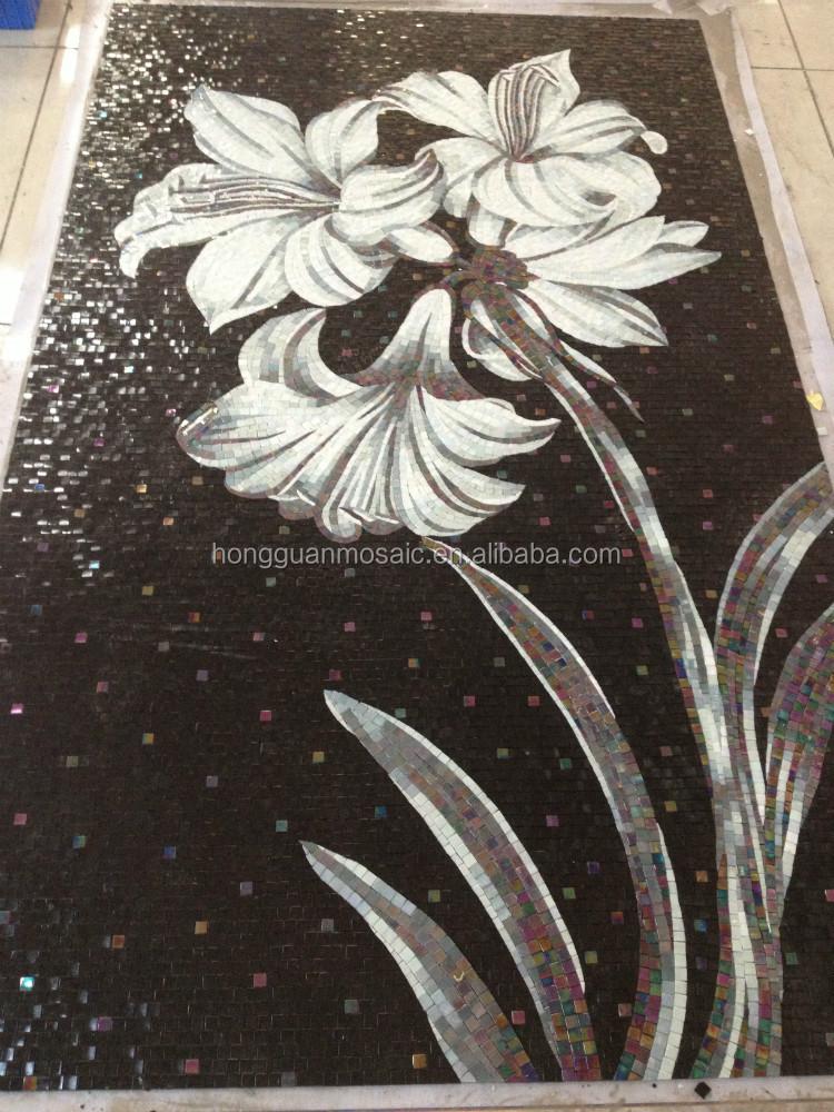 lilie blume bali mosaik fliesen selbstklebend decke. Black Bedroom Furniture Sets. Home Design Ideas