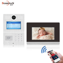 Multi apartment 7''LCD screen wireless wifi video door phone intercom system remote unlock