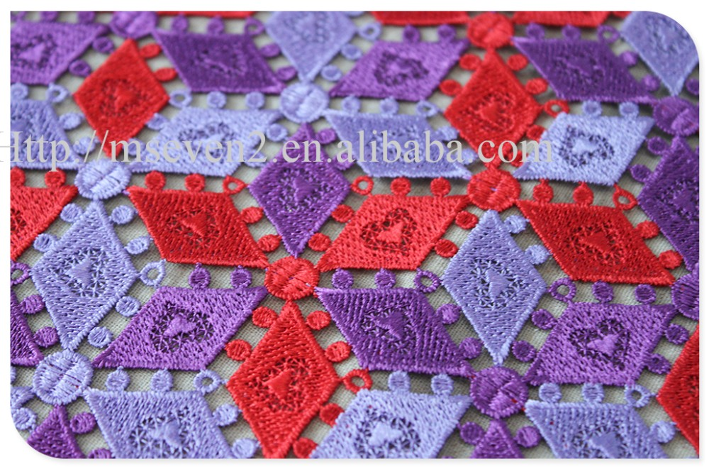 Fashional two colors plaid embroidery african french lace fabric water soluble