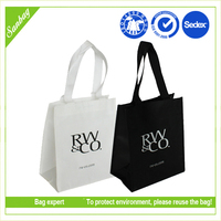 recycling promotional pp non woven shopping bag black and white