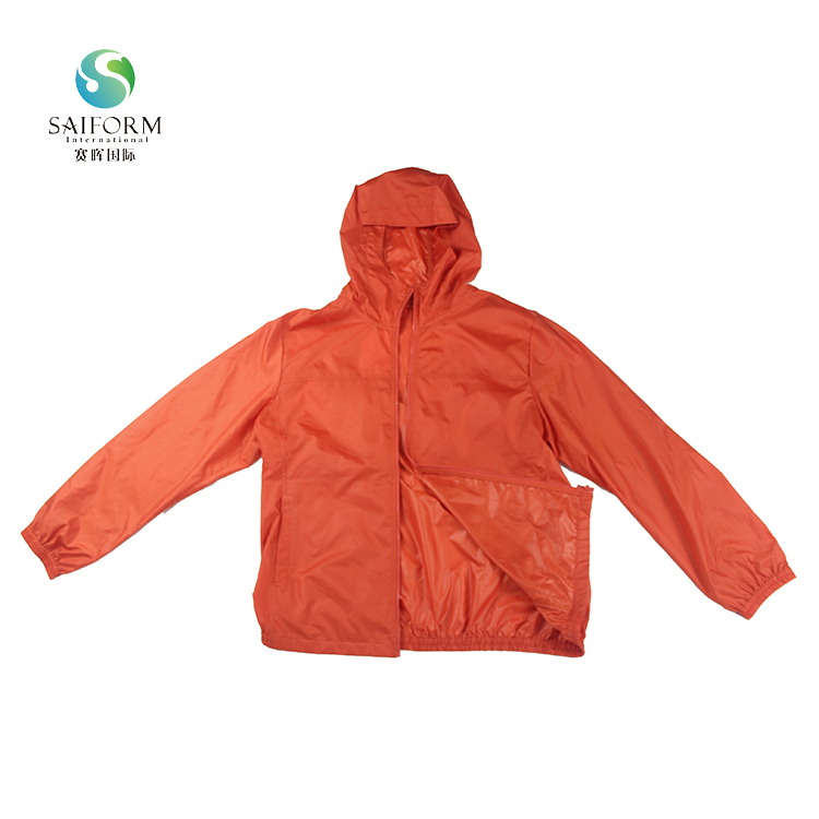 Customizable orange lady's long sleeve waterproof jacket