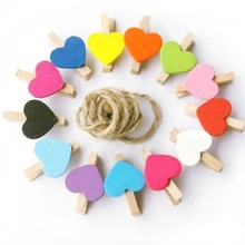 Colorful Love Heart Decorative Pegs Mini Wooden Photo Paper Clip