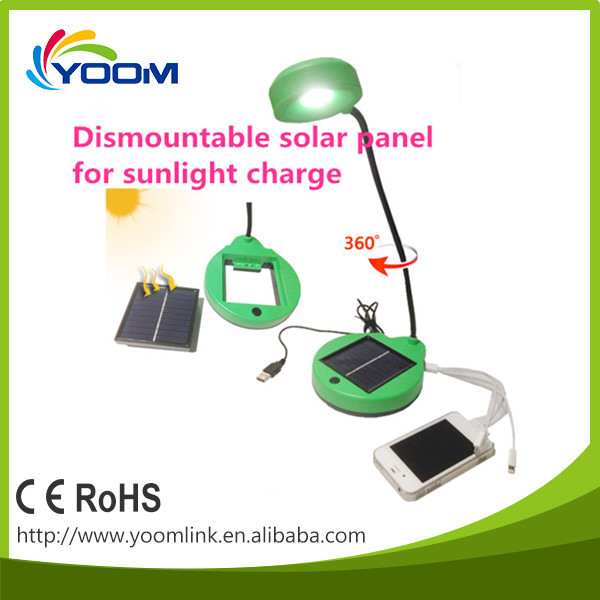 Trade Assurance foldable solar rechargeable led desk lamp with usb port