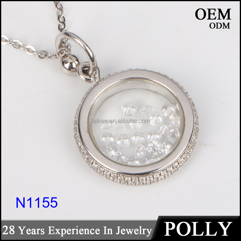 925 silver artificial diamond round ring pendant for women teardrop shaped pendant necklace