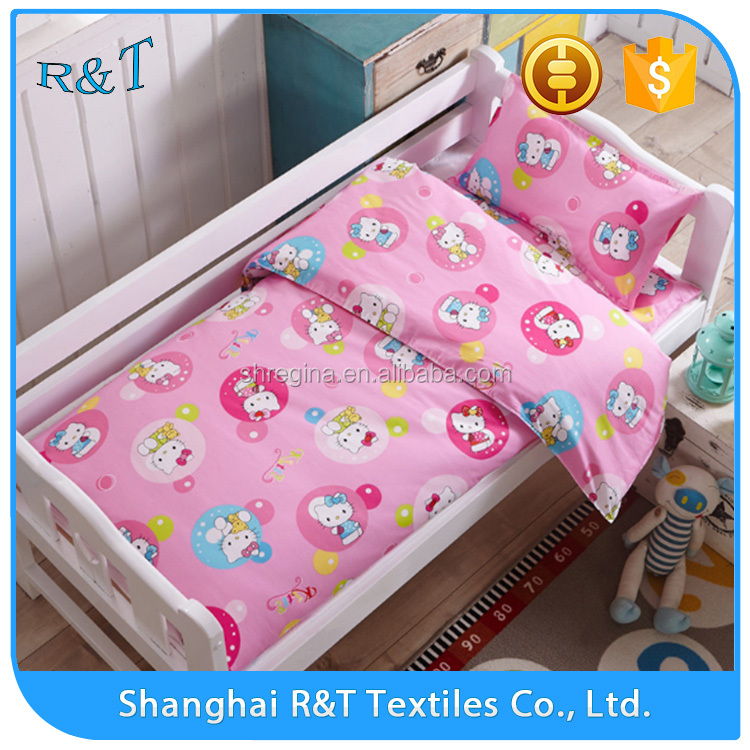 Hot sale high quality family 100% cotton The blue bow of the bear printing crib bedding sets