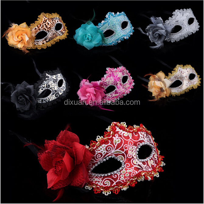 Sexy Party Costume Mask Half Face Lace Mask Flower on Side