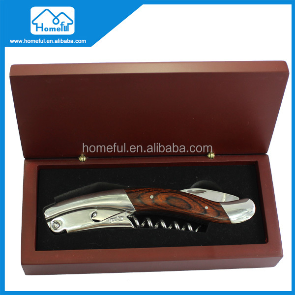 stainless wine corkscrew knife and pakka wooden handle bottle opener