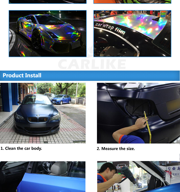 CARLIKE Holographic Rainbow Laser Silver Chrome Car Body Wrapping Vinyl Stickers