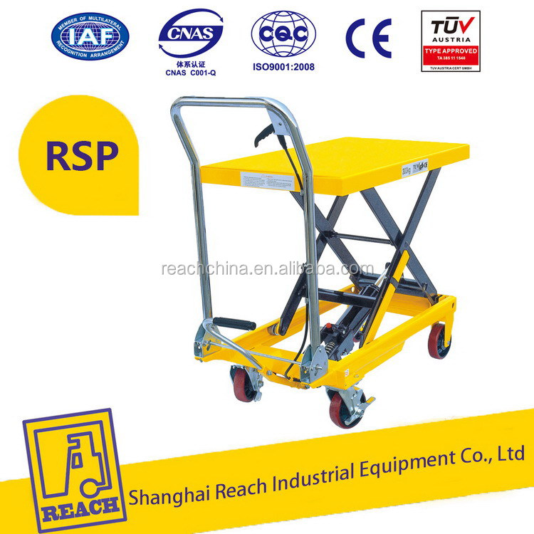 Stable performance hot sale manual hydraulic trolley lift table