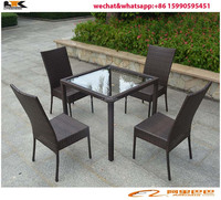 2015 Aluminum rattan furniture square table dng set outdoor