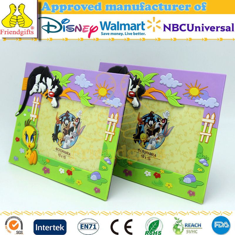 NBCUniversal audited manufacturer OEM embossed soft pvc rubber photo frame love picture photo frame