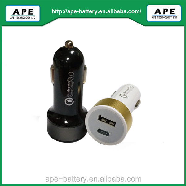 Economic Type Two ports Car Charger embedded QC3.0/2.0