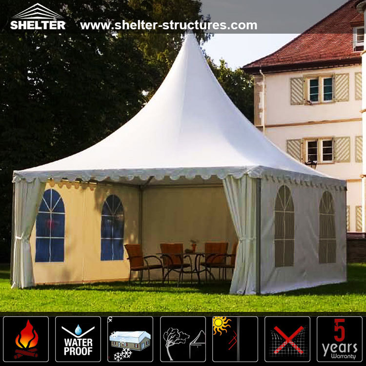 5X5M Outdoor Garden aluminum alloy frame high peak pavilion Pagoda Tent for party wedding event