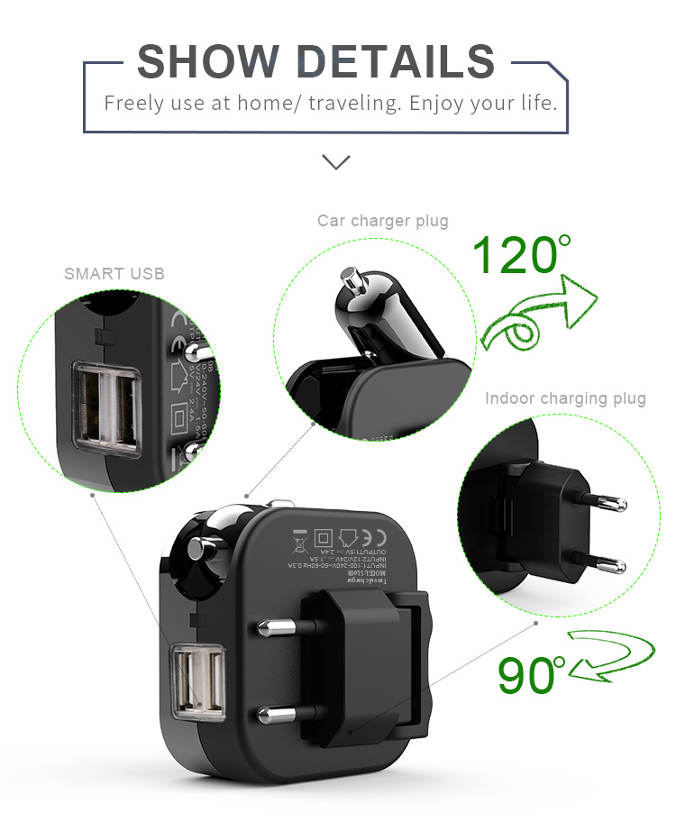 Chinese factory hot selling high quality 5V 2.4A mobile phone smart & fast 2 in 1 car charger
