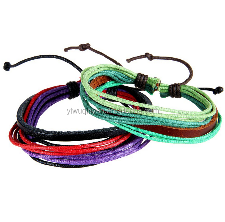 New Products European Hot Sale Bangles Fashion Waxed Cotton Cord Bracelet