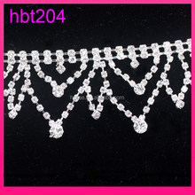 4.5cm width crystal empty cup chain trimming crystal bridal trim