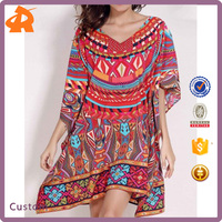 High Fashion Design Special Color Style Woman Dress OEM, Retro Style V Neck Batwing Sleeve Ethnic Print Loose Dress For Women