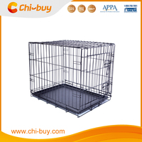 Folding Pet Dog Crate Cage Kennel with Plastic Tray Supplier