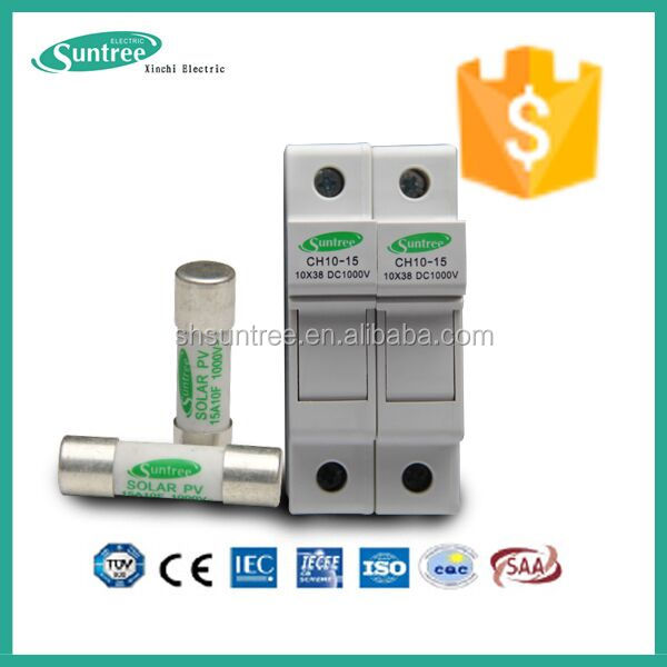 CE TUV High voltage Electric DC 1000V Ceramic 10x38 Solar PV Fuse with Fuse holder Fuse base 1A to 25A