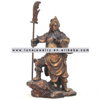 Brass Material Chinese Kwan Kong statue, Guan Gong have the guan dao