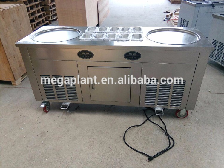 High quality 110v/220v double pan thailand roll fried ice cream machine / ice cream cold plate in USA