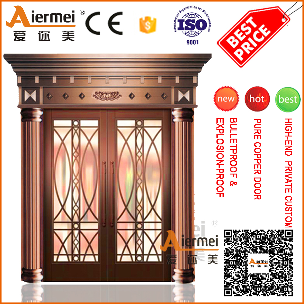 House design villa distinguished style copper double door with crown covering on the door head