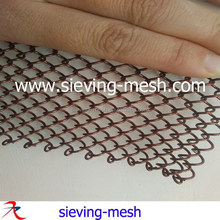 Metal woven spiral wire curtains, metallic woven wire coil drapery