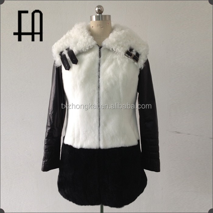 Factory direct wholesale fashion rex rabbit fur leather overcoat /fur winter overcoat