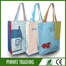 small fodable full print natural color custom cotton grocery tote shopping bag